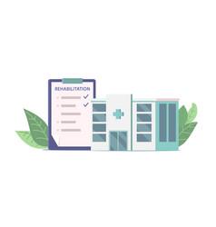 Rehabilitation clinic and list with procedures vector