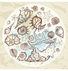 Sea background hand drawn vector