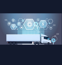 set of infographic elements with modern semi truck vector image