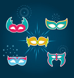 set of party mask vector image