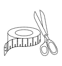 Sewing tape measure with scissors vector