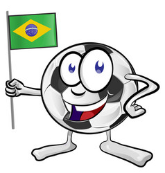 soccer ball cartoon with brazil flag vector image