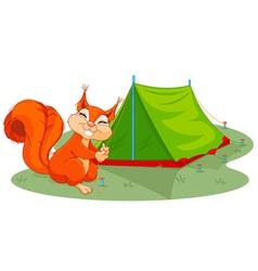 Squirrel sets tent vector