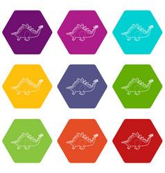 Stegosaurus icons set 9 vector