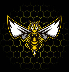 Strong bee mascot design vector