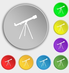 Telescope icon sign Symbol on eight flat buttons vector