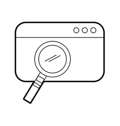 Template webpage with magnifying glass vector