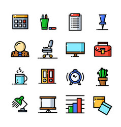 Thin line office icons set vector