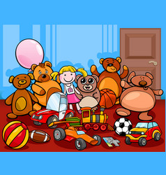 Toys group cartoon vector