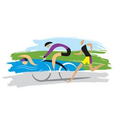 Triathlon racersthree discipline triathlon vector