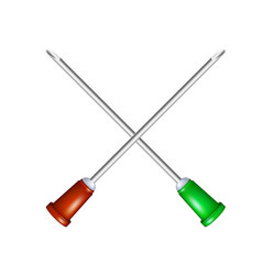 Two crossed injection needles vector