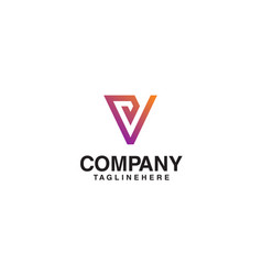 v logo monogram letter v simple clean line vector image