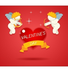 Valentines Day Greeting Card Template Angel Cherub vector