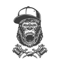 vintage ferocious gorilla head vector image