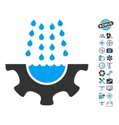 Water Shower Service Gear Icon With Copter Tools vector