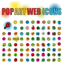 web icons in pop art vector image