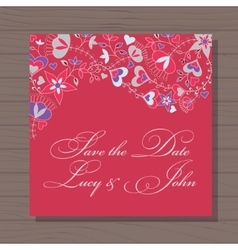 Wedding invitation with hearts and flowers on vector