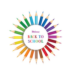 Welcome back to school poster design with crayons vector