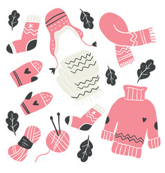 Winter knitted clothes and knitting tools isolated vector
