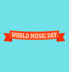 World music day banner icon flat style vector