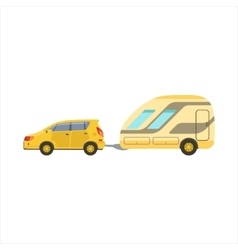 Yellow Car Pulling The Trailer vector image