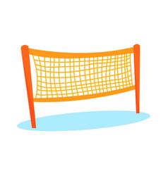 Cartoon orange volleyball or badminton net vector