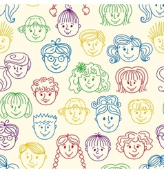 Seamles children faces pattern vector image vector image