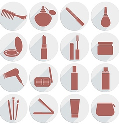 set of icons cosmetics in flat style vector image vector image