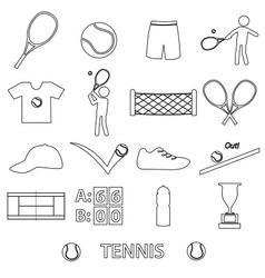tennis sport theme black outline icons set eps10 vector image