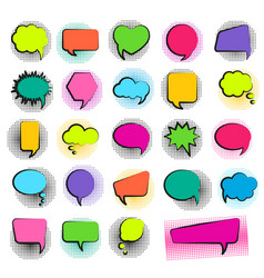 bubble speech set in pop art style and halftone do vector image