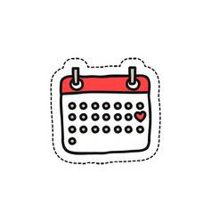 calendar february doodle icon vector image