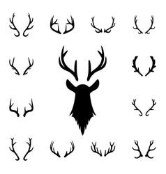 Deer s head and antlers set design elements of vector