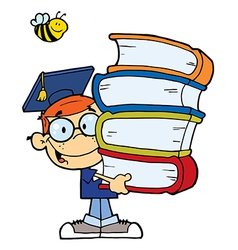 Graduation Boy With Books In Their Hands vector image vector image