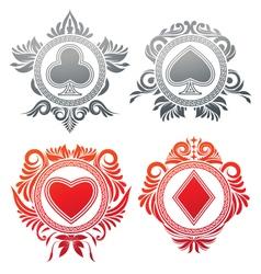 Playing Card Circle Ornament vector image