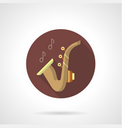 saxophone music flat brown round icon vector image vector image
