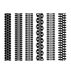 Set of six car tire track isolated flat style vector image