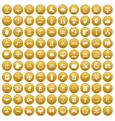 100 interface icons set gold vector