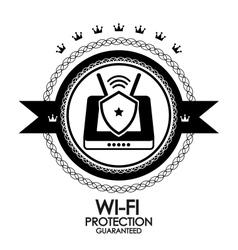 Black retro vintage label tag badge wi-fi vector image