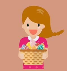 Cute girl holding basket full of easter eggs vector