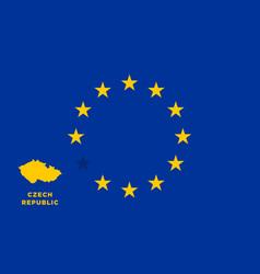 Eu flag with czech republic country european vector