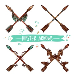 Hipster Color Sketch Arrows Collection vector image vector image
