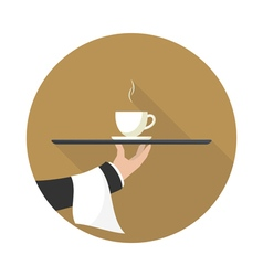 Icon coffee on a tray vector