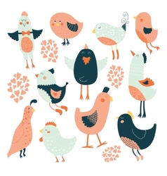 Cute birds collection vector image