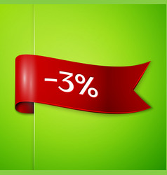 Red ribbon with text three percent for discount vector