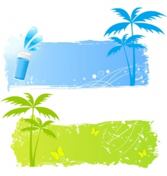 two grungy palms banners vector image vector image