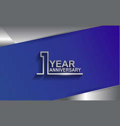 1 year anniversary silver color line style vector
