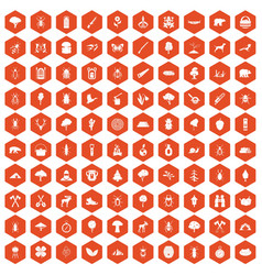 100 forest icons hexagon orange vector image
