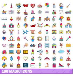 100 magic icons set cartoon style vector