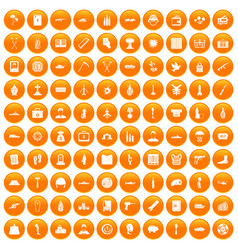 100 war crimes icons set orange vector