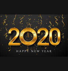 2020 new year greeting card with golden clock on vector image